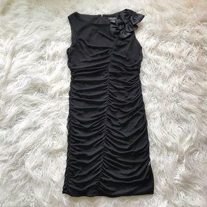 CAMILLE LA VIE BLACK RUCHED SHEATH DRESS